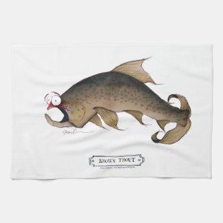 Brown Trout fish, tony fernandes Tea Towel