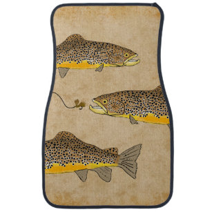 Brown Trout Fishing Car Mat