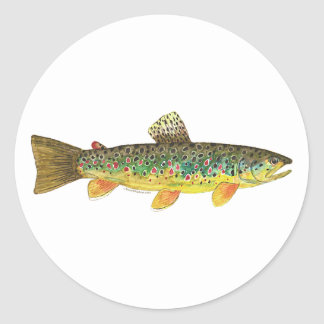 Brown Trout Fishing Classic Round Sticker