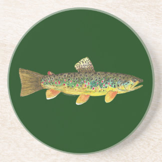 Brown Trout Fishing Drink Coaster