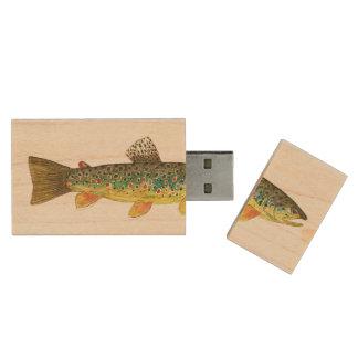 Brown Trout Fishing Wood USB 2.0 Flash Drive