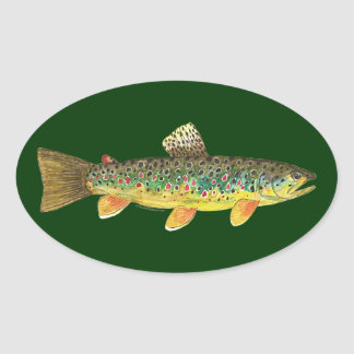 Brown Trout Fishing Oval Sticker