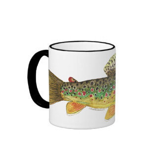 Brown Trout Fishing Ringer Mug