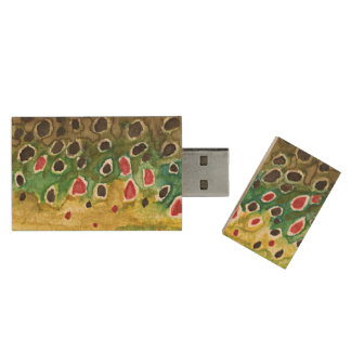 Brown Trout Fly Fisherman Wood USB 2.0 Flash Drive