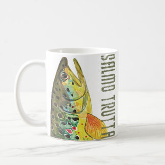 Brown Trout Ichthyology, Fishing, Fly Fishing Mugs