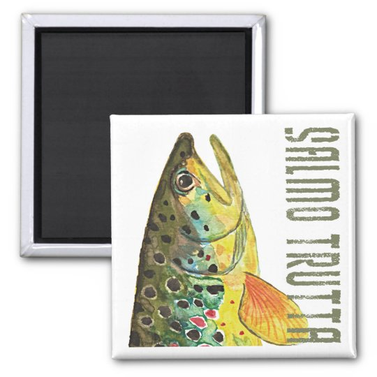 Brown Trout Ichthyology, Fishing, Fly Fishing Square Magnet
