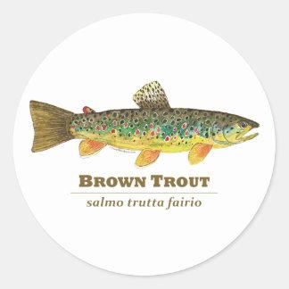 Brown Trout Latin Ichthyology Classic Round Sticker