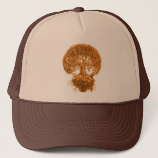 Brown trucker hat w/ tree design