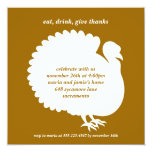 Brown turkey square Thanksgiving invitation card