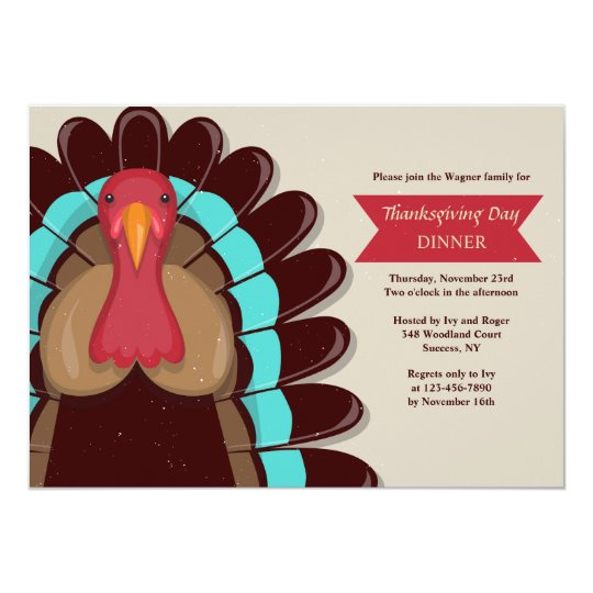 Brown Turkey Thanksgiving Invitation