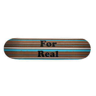 Brown Turquoise and White Stripes Skate Boards