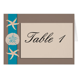 Brown Turquoise Band Starfish Table Number tent