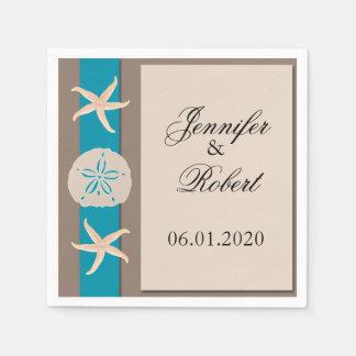 Brown Turquoise Band Wedding Napkin Disposable Serviettes