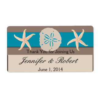 Brown Turquoise Band Wedding Water Bottle Label Shipping Label