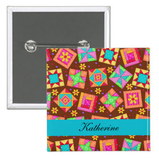 Brown Turquoise Blue Patchwork Quilt Name Badge