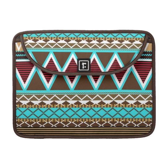 Brown & Turquoise Modern Tribal Macbook Pro Flap S Sleeves For MacBooks