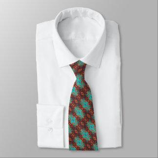 Brown Turquoise Orange Red Eclectic Ethnic Look Tie