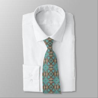 Brown Turquoise Teal Green Bali Batik Pattern Tie