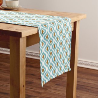Brown Turquoise Teal Retro Chic Ikat Drops Pattern Short Table Runner