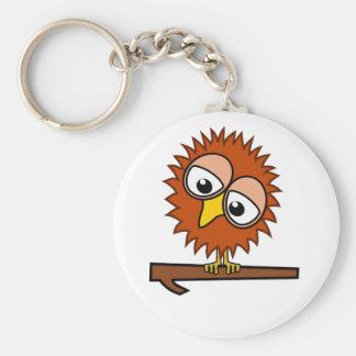 Brown Tweet Basic Round Button Key Ring