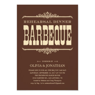 Brown Vintage Barbeque Rehearsal Dinner Invitation