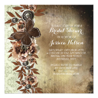 Brown Vintage Damask Butterfly Bridal Shower Personalized Invitations