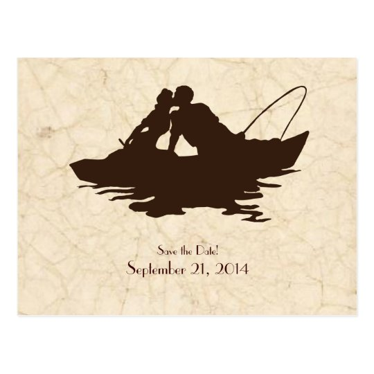 Brown Vintage Fishing Lovers Save the Date Postcard