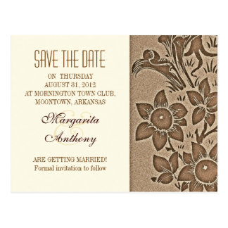 brown vintage floral damask save the date postcard