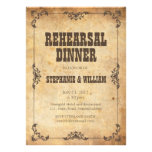 Brown Vintage Floral Rehearsal Dinner Card Personalised Invite