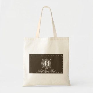 Brown Vintage Monogram Business Budget Tote Bag
