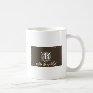 Brown Vintage Monogram Business Coffee Mug