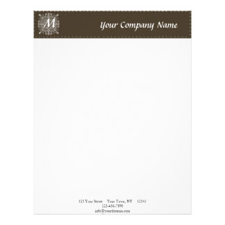 Brown Vintage Monogram Business Customized Letterhead