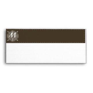 Brown Vintage Monogram Business Envelope