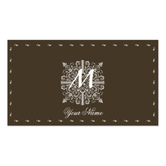 Brown Vintage Monogram Business Pack Of Standard Business Cards