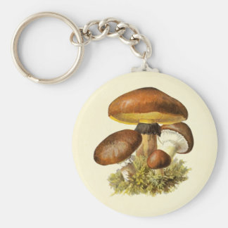 Brown Vintage Mushroom Key Ring