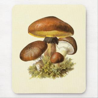 Brown Vintage Mushroom Mouse Mat