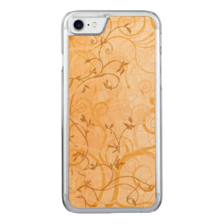 brown vintage swirl leaves art carved iPhone 8/7 case