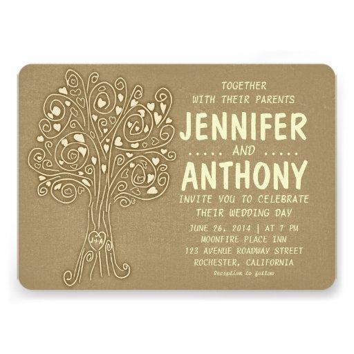 brown vintage tree rustic wedding invitation