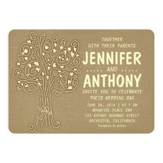 brown vintage tree rustic wedding invitation