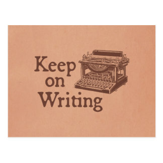 Brown Vintage Typewriter Keep on Writing Postcard