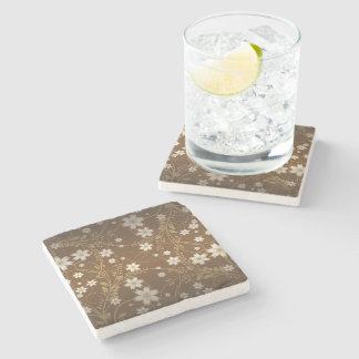 brown vintage vector flowers stone beverage coaster