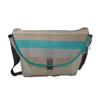 Brown, violet and turquoise striped messenger bag