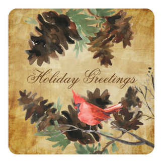 Brown w. Red Cardinal Pine Cones Holiday Card 13 Cm X 13 Cm Square Invitation Card