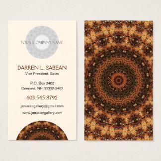 "Brown ""Walk in the Woods"" Kaleidoscopic Mandala Business Card"