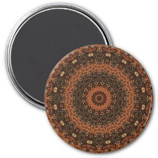 "Brown ""Walk in the Woods"" Mandala Kaleidoscope 7.5 Cm Round Magnet"