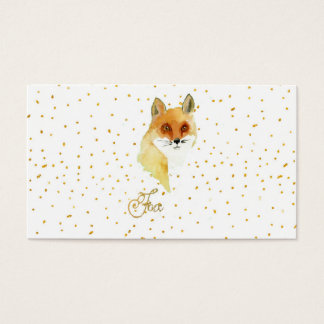 Brown watercolor fox gold faux glitter dots business card