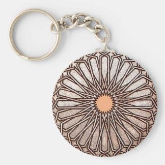 Brown Weave Circle Basic Round Button Key Ring