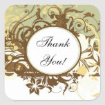 Brown Wedding Matching Stickers, Thank You!