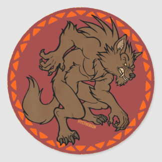 Brown Werewolf Classic Round Sticker