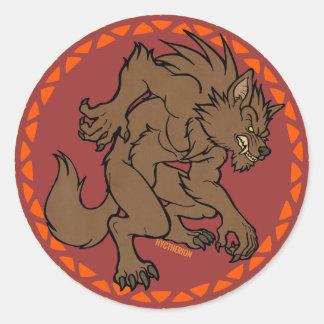 Brown Werewolf Round Sticker